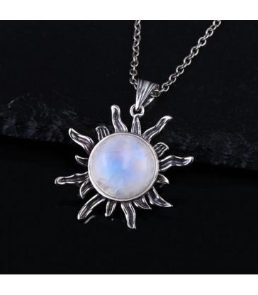 Collier & Pendentif soleil en pierre de lune naturelle
