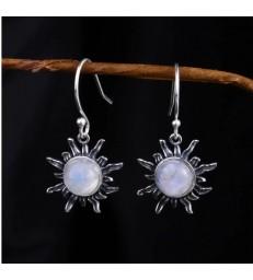 Boucles d'oreilles Soleil en pierre de lune naturelle Argent 925S
