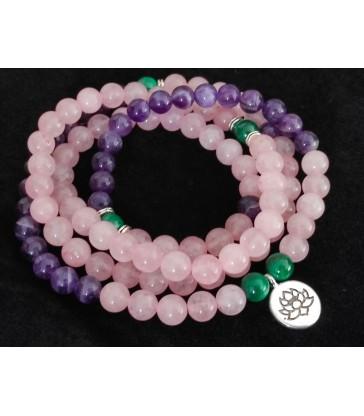 Bracelet Mala Améthyste - Quartz Rose & Malachite