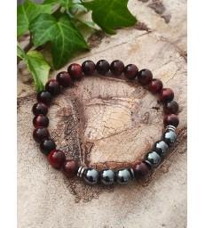 Bracelet Oeil de Taureau & Hématite en pierre naturelle