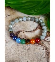 Bracelet  Labradorite 7 chakras en pierre naturelle