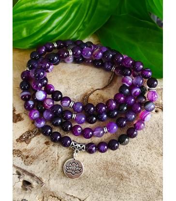 Bracelet Mala Agate Violette