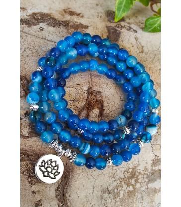 Bracelet Mala en Pierre Agate Bleue
