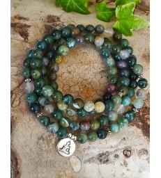 Bracelet Mala Bouddha Agate Indienne
