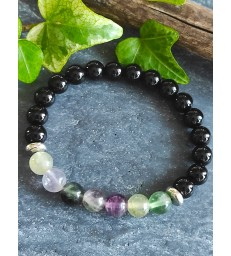 Bracelet en pierre naturelle Onyx Noire et Fluorite