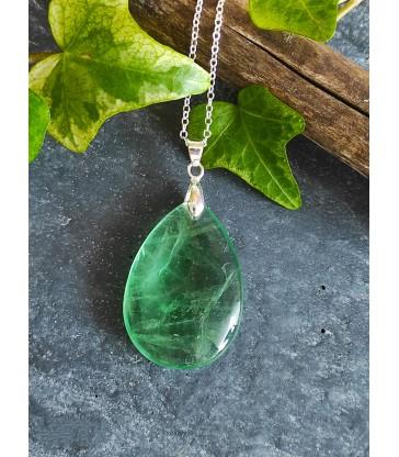 Collier & Pendentif Fluorite Verte Argent 925
