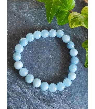 """Bracelet """" Bonheur """" en pierre naturelle Aigue Marine"""