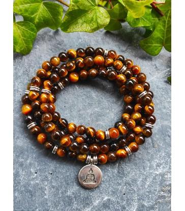 Bracelet Mala Bouddha en Oeil de Tigre