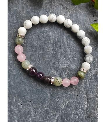 Bracelet Howlite, Labradorite, Quartz Rose & Améthyste