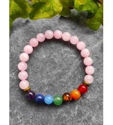 Bracelet guérison 7 chakras en Quartz Rose