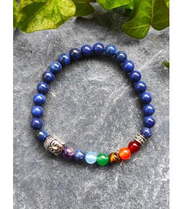 Bracelet Bouddha 7 chakras en Lapis Lazuli