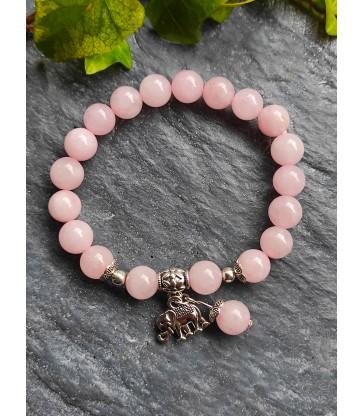 Bracelet Eléphant en Quartz Rose