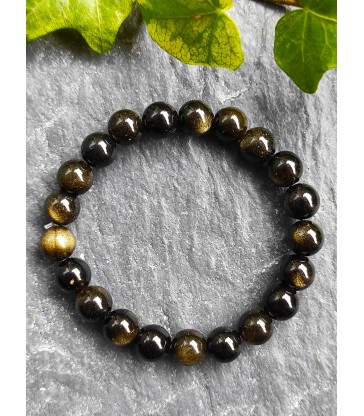 Bracelet en Obsidienne Doré