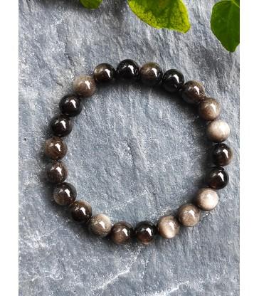 Bracelet en Obsidienne Argentée