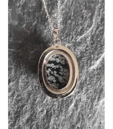 Pendentif Ovale en Obsidienne Neige