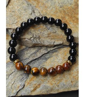 """Bracelet de """" Méditation """" en pierre naturelle Onyx et Oeil de Tigre"""