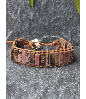 Bracelet Bohème en Rhodonite