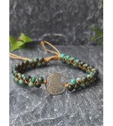Bracelet Bohème en Jaspe Africain & Arbre de Vie