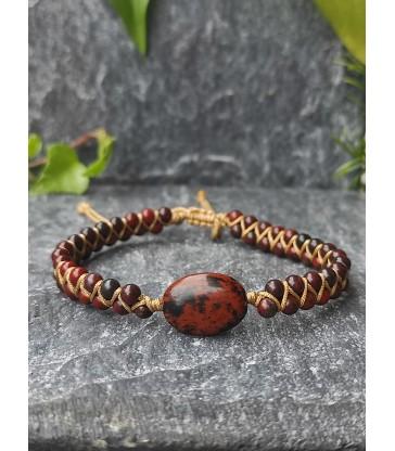 Bracelet Bohème en Obsidienne Acajou