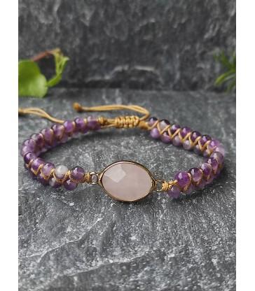 Bracelet Bohème Améthyste & Quartz Rose