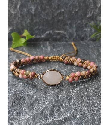 Bracelet Bohème Rhodonite & Quartz Rose