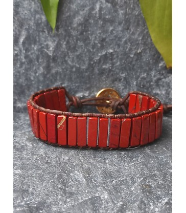 Bracelet Bohème en Jaspe rouge