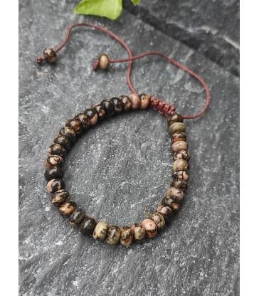 Bracelet Ajustable en pierre naturelle Rhodonite