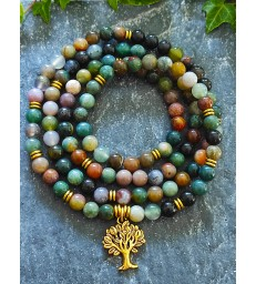 Bracelet Mala Agate Indienne & Arbre de vie