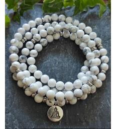 "Bracelet Mala en pierre Howlite "" énergie positive """