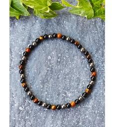 """Bracelet """" Triple Protection """" en pierre naturelle Oeil de Tigre, Obsidienne & Hématite"""