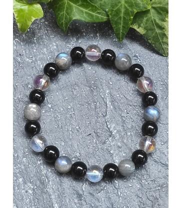 Bracelet énergie & protection en Quartz angel aura, Labradorite et Onyx