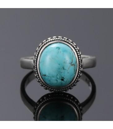Bague ronde en pierre naturelle Turquoise