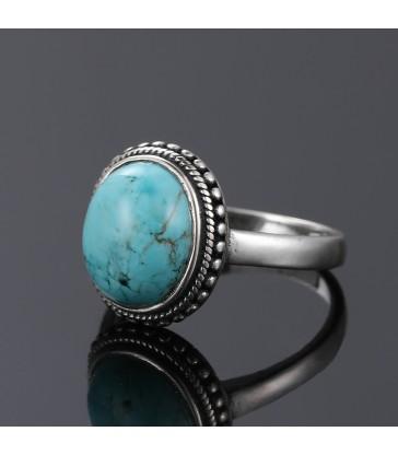 Bague ronde en pierre naturelle Turquoise Argent 925 S